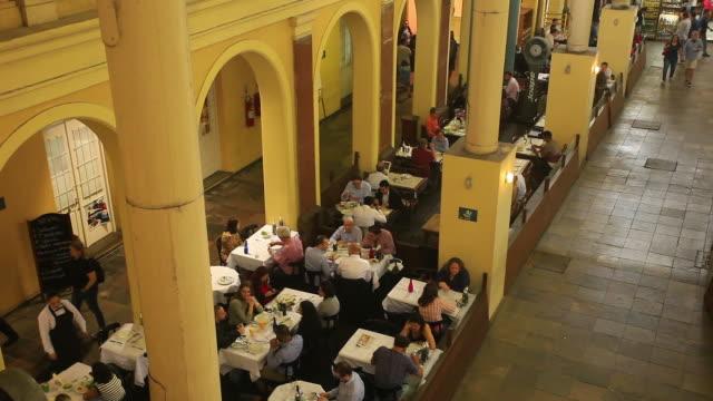 restaurants inside public market, porto alegre, rio grande do sul - alegre stock videos & royalty-free footage