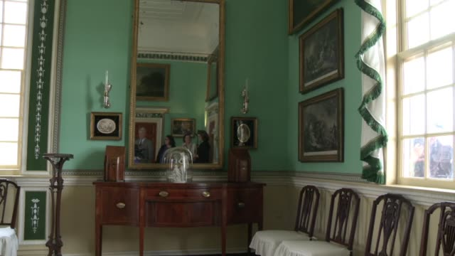restored green room in george washington's estate in virginia - george washington painting stock videos and b-roll footage