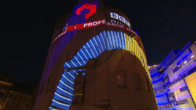 Results of the EU referendum being projected on to the exterior of BBC Broadcasting House in London