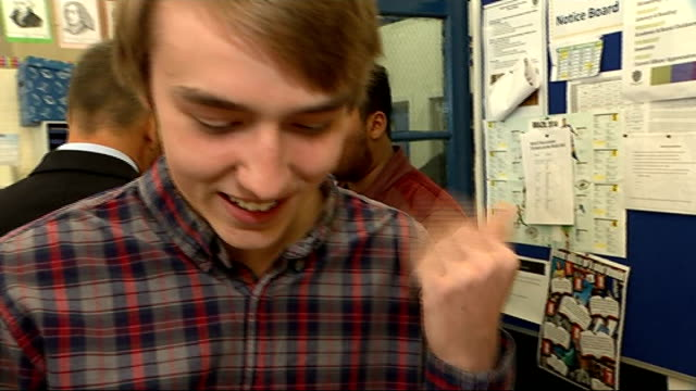 top grades rise but english scores fall; england: london: int various of students reacting to their gcse examination results sot - general certificate of secondary education stock videos & royalty-free footage
