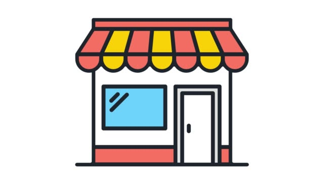 Retail Inventory Flat Line Icon Animation with Alpha