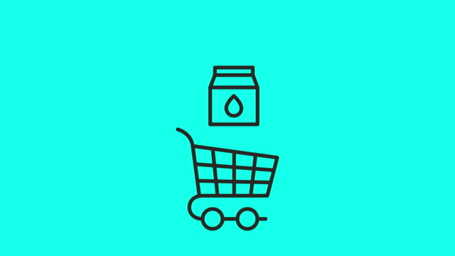 retail store icons set 2 - vector animate - shopping trolley stock videos & royalty-free footage
