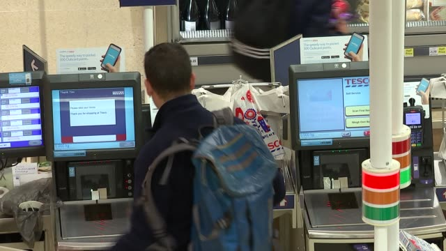 tesco reports an annual jump in sales retail tesco reports an annual jump in sales london bridge tooley street selfcheckout tills in tesco store - self service stock videos & royalty-free footage