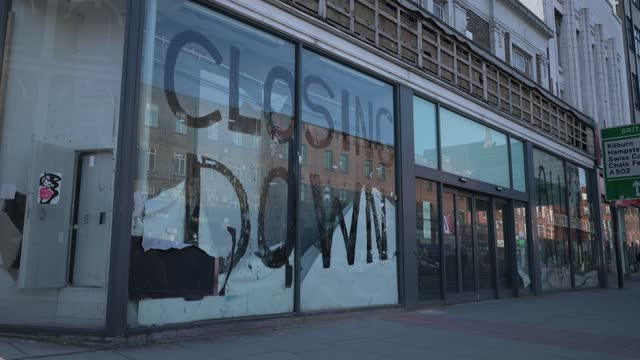 retail's store sports direct has a window painted with a closing down sign on the window due to the coronavirus covid-19 pandemic in camden on march... - week stock videos & royalty-free footage