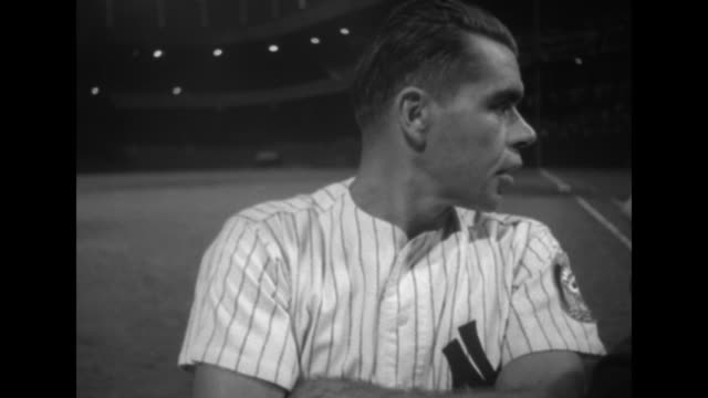vídeos de stock, filmes e b-roll de vs cu retired baseball players including charlie keller joe dimaggio and others and africanamerican boxer jersey joe walcott / note documentation... - old timers' day