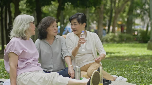 retired chinese female friends relaxing at public park - chinese ethnicity stock videos & royalty-free footage