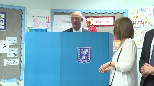 retired israeli general benny gantz one of the leaders of the blue and white political alliance arrives to cast his vote in israel's parliamentary... - hometown stock videos and b-roll footage