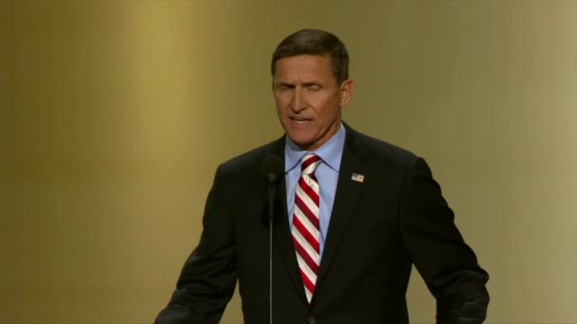 retired lt gen michael flynn former assistant director of national intelligence for partner engagement and director of the defense intelligence... - republican national convention stock videos & royalty-free footage