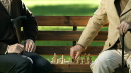 Retired male friends playing chess on bench, having fun together, checkmate