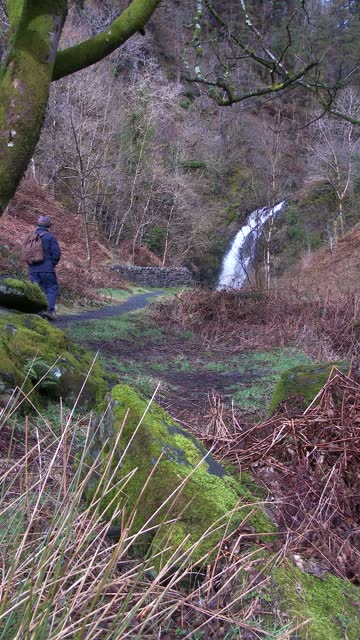 retired man walking towards a waterfall - johnfscott stock videos & royalty-free footage