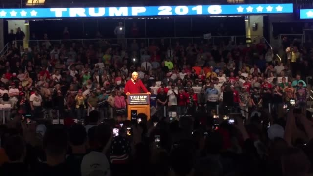 Retired NCAA basketball coach Bob Knight speaks at the Donald Trump rally at Indiana Farmers Coliseum in Indianapolis