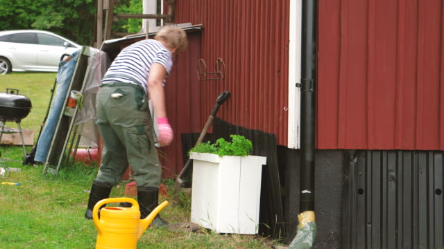retired senior woman active in the garden - gardening glove stock videos & royalty-free footage