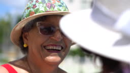 Retirees enjoying summer in the pool