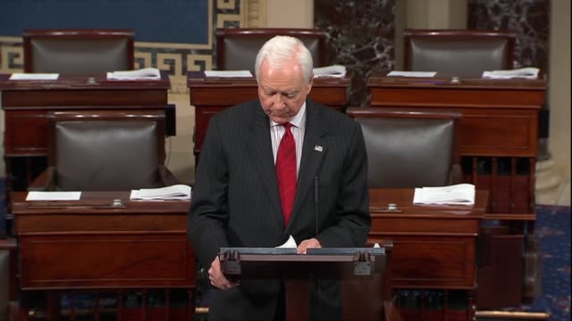 retiring utah senator orrin hatch says in his farewell to the senate that the bar of decency was set so low that jumping over it was no longer an... - identität stock-videos und b-roll-filmmaterial