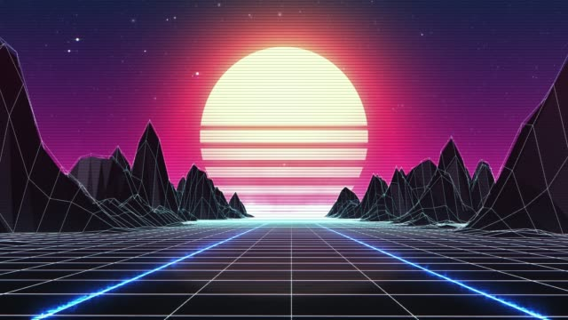vídeos de stock e filmes b-roll de retro 80s background - loopable - modelação low poly