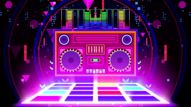 retro boombox music party neon - disco dancing stock videos & royalty-free footage