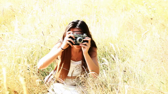 retro camera girl, summer snapper. - only teenage girls stock videos & royalty-free footage