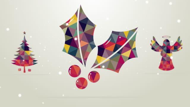 retro coloured christmas animation - christmas tree stock videos & royalty-free footage