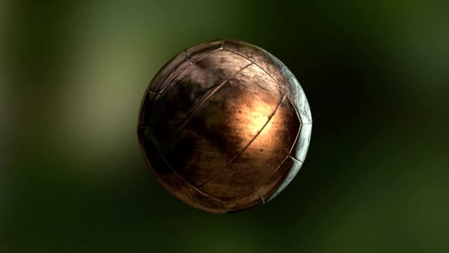 retro football ball soccer, bronze pelé - animal skin stock videos & royalty-free footage