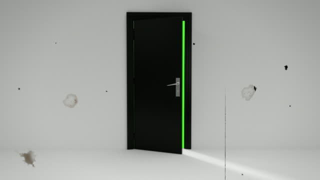 retro green door opening with alpha channel and green screen - entrance sign stock videos & royalty-free footage
