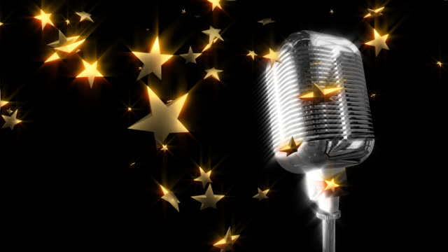 retro microphone with falling stars - microphone stock videos and b-roll footage