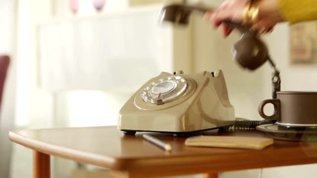 retro phone ringing & being picked up   cm - telephone stock videos & royalty-free footage