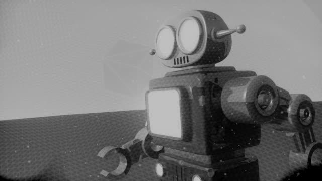 vídeos de stock e filmes b-roll de retro robô (hd 720 original - preto e branco