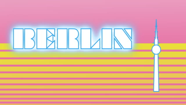 Retro style animated sequence revealing the word Berlin.