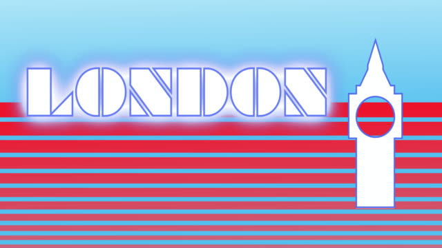 Retro style animated sequence revealing the word London.