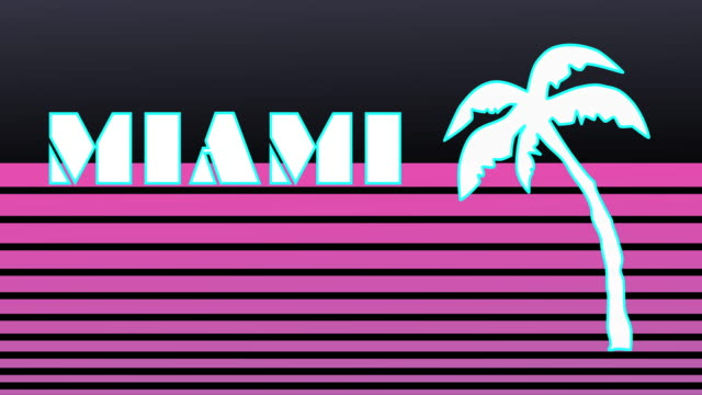stockvideo's en b-roll-footage met retro style animated sequence revealing the word miami. - miami