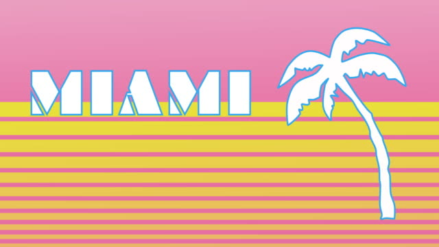 Retro style animated sequence revealing the word Miami.