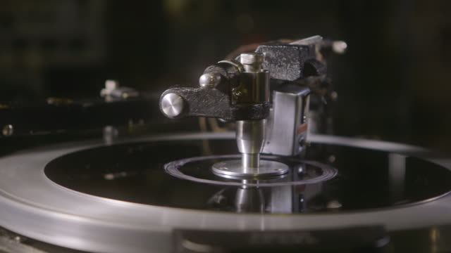 cu pan retro styled presto recording turntable / england, united kingdom - analog stock videos and b-roll footage
