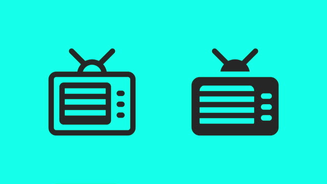 retro television icons - vector animate - icon stock videos & royalty-free footage
