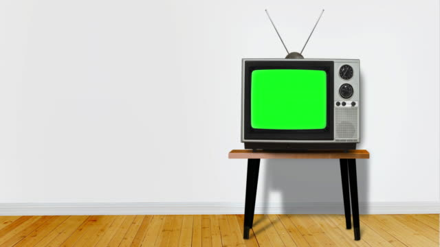 retro television with chroma key screen in blue room with copy space - channel stock videos & royalty-free footage