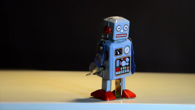 retro tin robot - robot stock videos & royalty-free footage