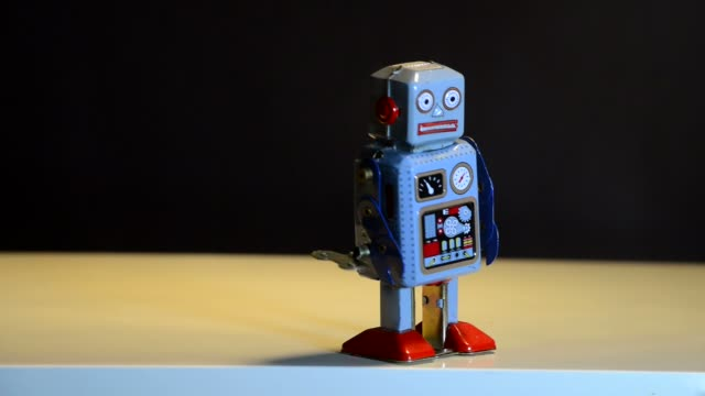 retro tin robot - information equipment stock videos & royalty-free footage