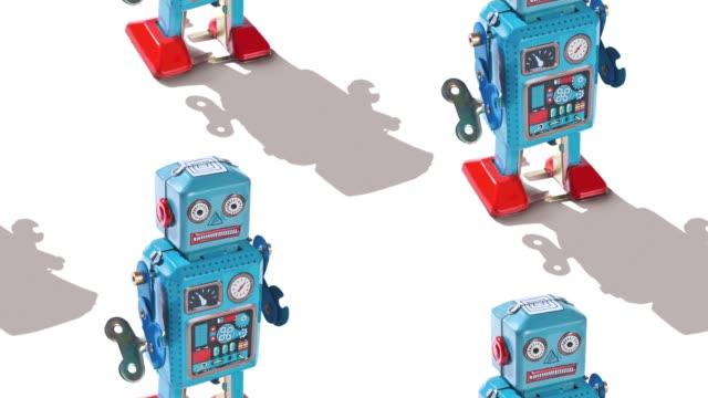 stockvideo's en b-roll-footage met retro tin robot - pop speelgoed