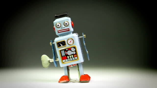 retro tin toy robot falls down - robot stock videos & royalty-free footage