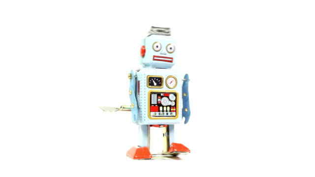 retro tin toy robot - robot stock videos & royalty-free footage