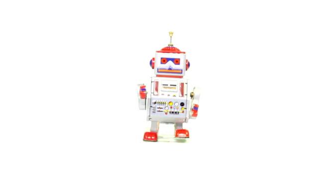 retro tin toy robot - image stock videos & royalty-free footage