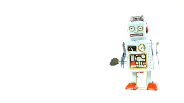 Lata de robots de juguete Retro con espacio para texto
