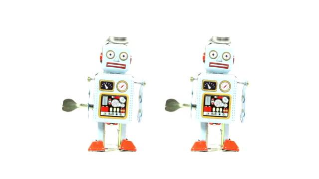 retro tin toy robots - montage - toy stock videos & royalty-free footage