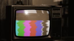 Retro TV with Static Noise and Color Bars. Sepia Tone.