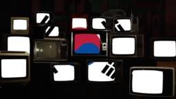 Retro Tvs And The National Flag Of South Korea.