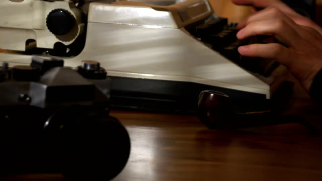 4K Retro & vintage style typewriter, finger typing on old typewriter