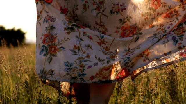 stockvideo's en b-roll-footage met retro vrouw lopen op groene gebied van tarwe bij zonsondergang - bloemenmotief