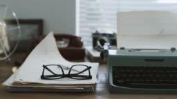 Retro writer desk with typewriter