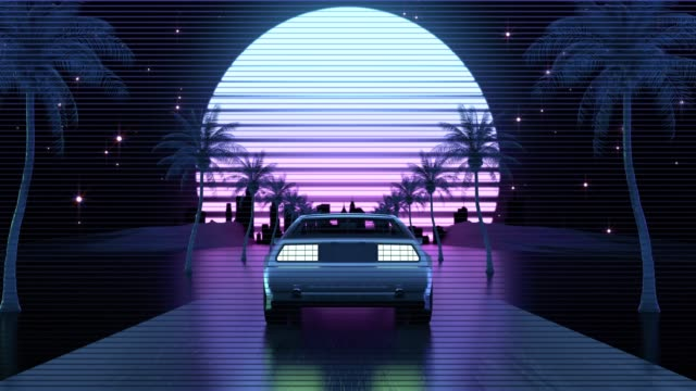 retro-futuristic 80s style car - retro style stock videos & royalty-free footage