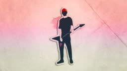 Retrowave Guitar Player Motion Graphic Animation / Paper Cutout - Stop Motion