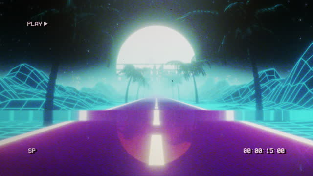 retrowave landscape at sunset - with vhs style - 1980 stock videos & royalty-free footage